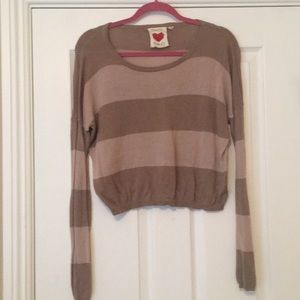 Dusty Pink/Brown Striped Cropped Sweater